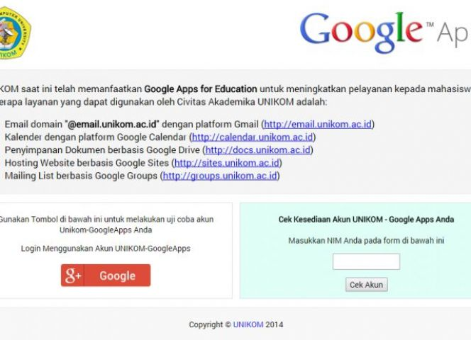 Informasi Akun UNIKOM-GoogleApps for Education